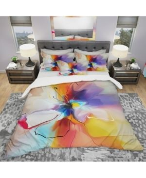Designart  Creative Flower in Multiple Colors  Modern   Contemporary Bedding Set   Duvet Cover   Shams  Retail 134 99