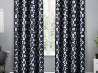 Set of 2 84 x52  Gates Sateen Woven Room Darkening Grommet Top Window Curtain Panels Blue   Exclusive Home