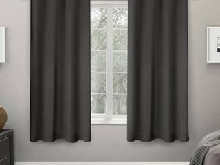 Set of 2 63 x52  Sateen Twill Weave Insulated Blackout Grommet Top Window Curtain Panels Charcoal   Exclusive Home
