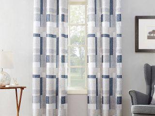 63 x40  Takumi Geometric Blocks light Filtering Grommet Top Curtain Panels Navy   No  918