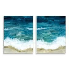 Stupell Industries Tide Crash to Shore Nautical Beach Watercolor Canvas Wall Art   Beige