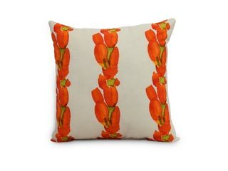 Sunset Tulip Stripe 16 inch Floral Decorative Outdoor Pillows set of 2