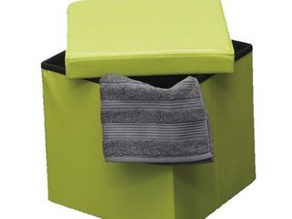 2 in 1 foldable pouffe and storage box   lEATHER look 14 es Cube Faux lea