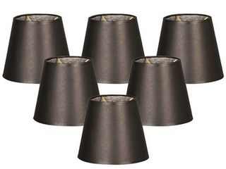 Royal Designs Parchment Empire Black Silk 5 inch Chandelier lamp Shades  Set of 6