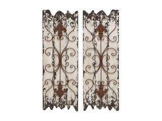 Wood and Metal Wall Decor Panel  Set of 2