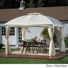 Gravina Outdoor 12  by 10  Water Resistant Fabric and Steel Gazebo by Christopher Knight Home  Retail 449 49 beige