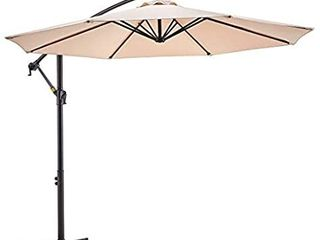 le conte 10ft Patio Offset Umbrella Cantilever Umbrella Hanging Market Umbrella Outdoor Umbrellas with Crank   Cross Base  10 ft  Beige