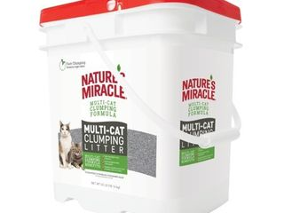 Nature s Miracle Multi Cat Clumping Clay litter  40 pounds  Pail  Fresh linen Fragrance  Super Absorbent Fast Clumping Formula