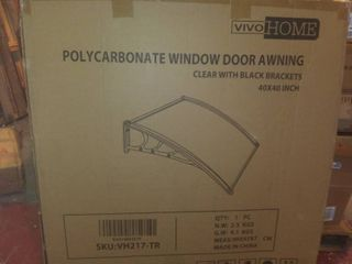 VIVOHOME Polycarbonate Window Door Awning Canopy Clear with Black Bracket 40 Inch x 40 Inch