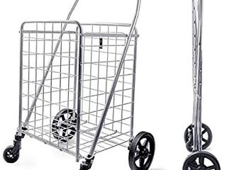 Wellmax WM99024S Grocery Utility Shopping Cart  Easily Collapsible and Portable to Save Space and Heavy Duty  light Weight Trolley with Rolling Swivel Wheels  MISSING 1 WHEEl