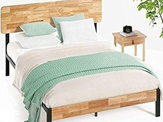 Full Bed Frame Platform Wood Metal Scandinavian Vibe Rustic Sleek Modern Cottage