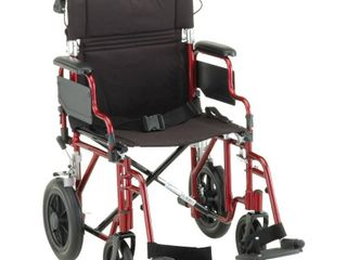Nova 19  Transport Chair with Hand Brakes   Red