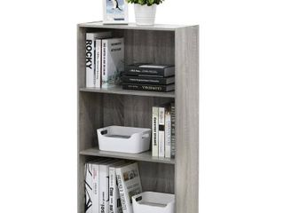 Furinno Basic 3 Tier Bookcase Storage Shelves  French Oak Grey