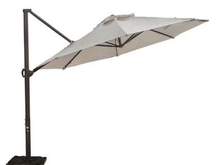 11 ft  Cantilever Push Tilt Patio Umbrella in Beige