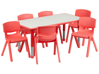 Flash Furniture Adjustable Rectangular Plastic Activity Table  Red   TABlE TOP ONlY  NO lEGS AND CHAIRS NOT INClUDED