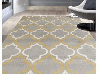 Modern Moroccan Trellis Grey  Yellow Area Rug or Runner
