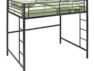 Walker Edison Full Size Premium Metal loft Bed   Black