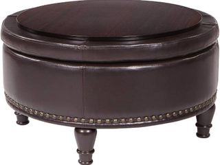 OSP Home Furnishings Augusta Eco leather Round Storage Ottoman with Brass Color Nail Head Trim and Deep Espresso legs  Espresso