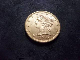 1901 S Five Dollar Liberty Gold Coin