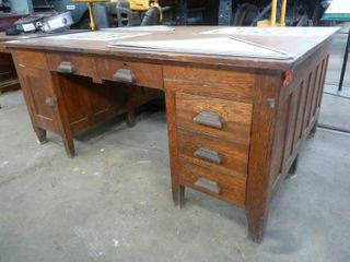large double sided wooden desk