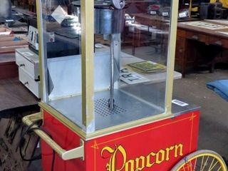 large popcorn machine with rolling cart