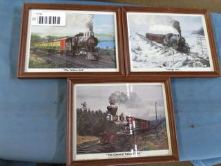 3 framed train prints