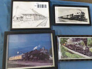6 framed train prints   images