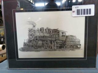 framed railroad print