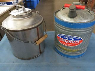 2 metal water containers with handle   spout