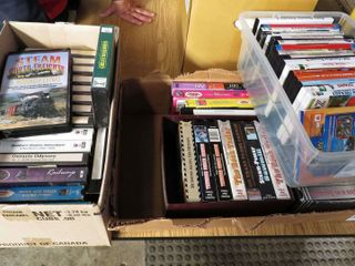 3 boxes of railroad VHS tapes   DVDs