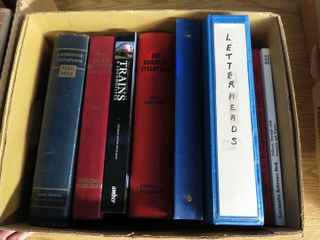 box of railroad encyclopedias and reference books