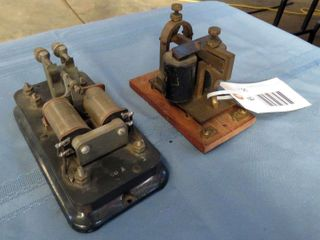 2 antique telegraph relay sounders