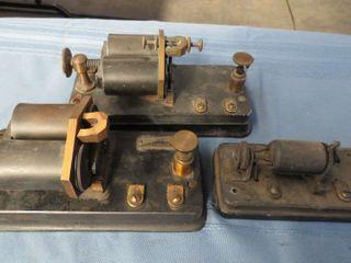 3 antique telegraph relay sounder