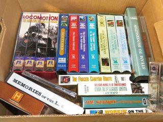 box of railroad VHS tapes