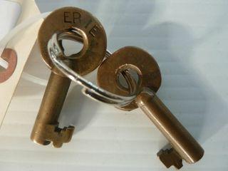 2 railroad keys marked Erie