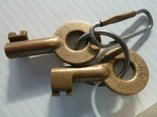 2 railroad keys marked PCRR
