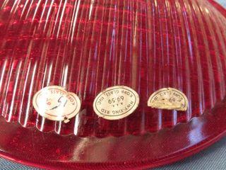 8 red glass railway lenses