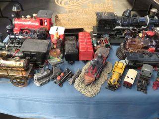 box of toy decorative train engines