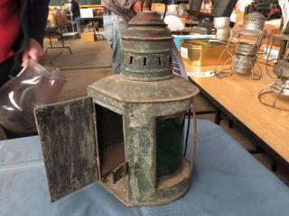 H A J  Helvig   Co  green glass railroad lantern