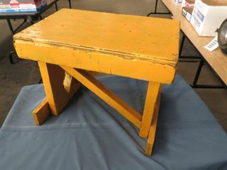 yellow wooden step stool