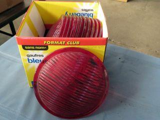 12 red plastic railway lenses