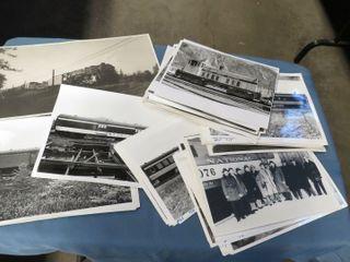 box of black   white train photos
