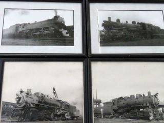 12 framed railroad locomotive images
