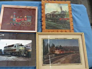 box of 8 railroad framed images   mirrors