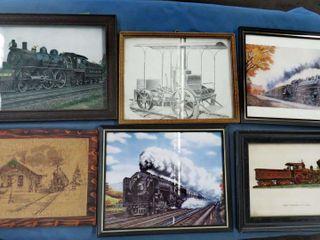 box of 21 railroad framed images