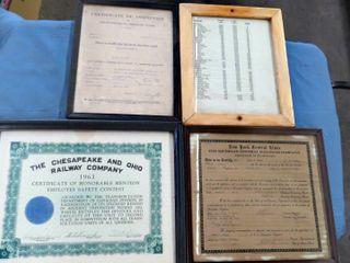 6 framed railroad documents   awards