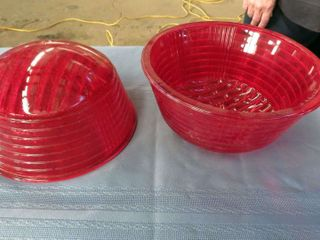 large glass red railway lenses