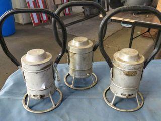 3 railroad hand lanterns