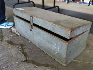 wooden tool box with contents