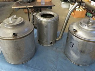 3 metal water containers